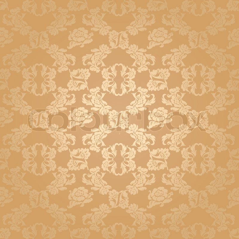 Seamless Background Flowers Floral Pattern Gold Vector