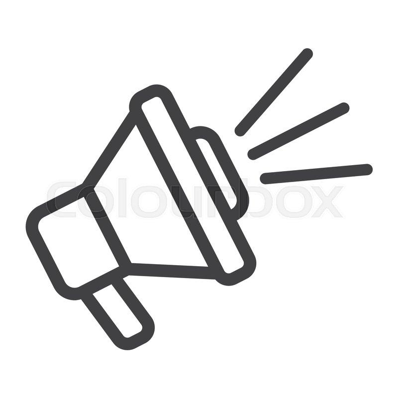 Loudspeaker line icon, megaphone and website button, horn vector ...