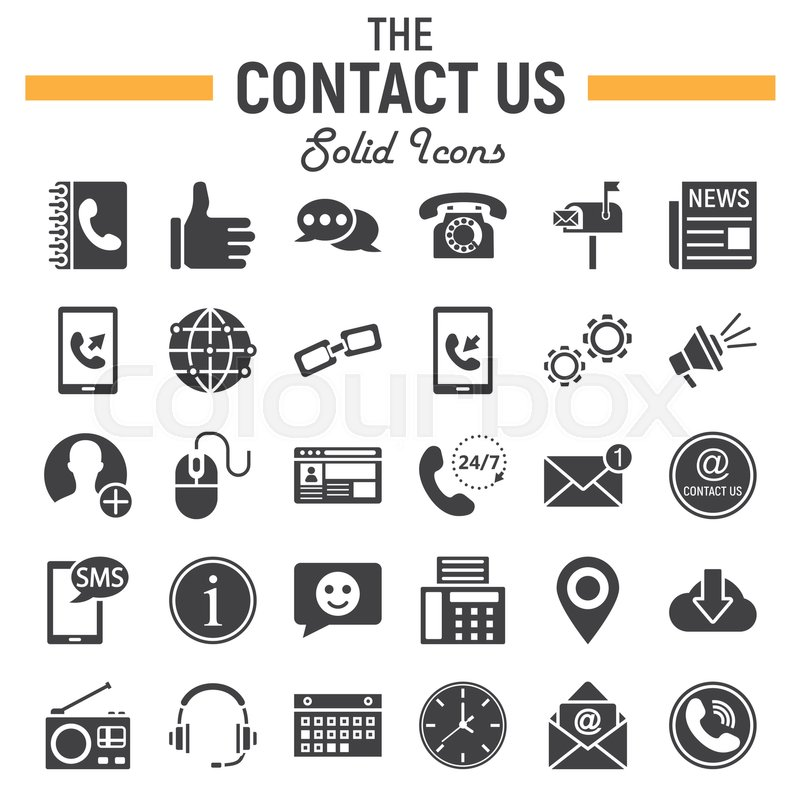 Contact Us Solid Icon Set Web Button Symbols Collection Mobile And