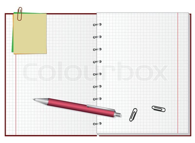 offene notebook mit einem stift vector illustration vektorgrafik colourbox. Black Bedroom Furniture Sets. Home Design Ideas
