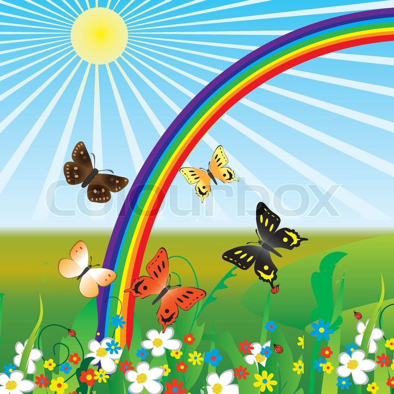 Rainbow and butterflies on flowers ... | Stock vector ...