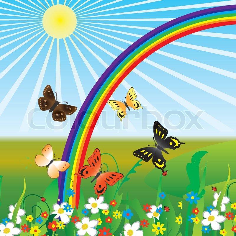 Regenbogen und Schmetterlinge auf Blumen Vector ...