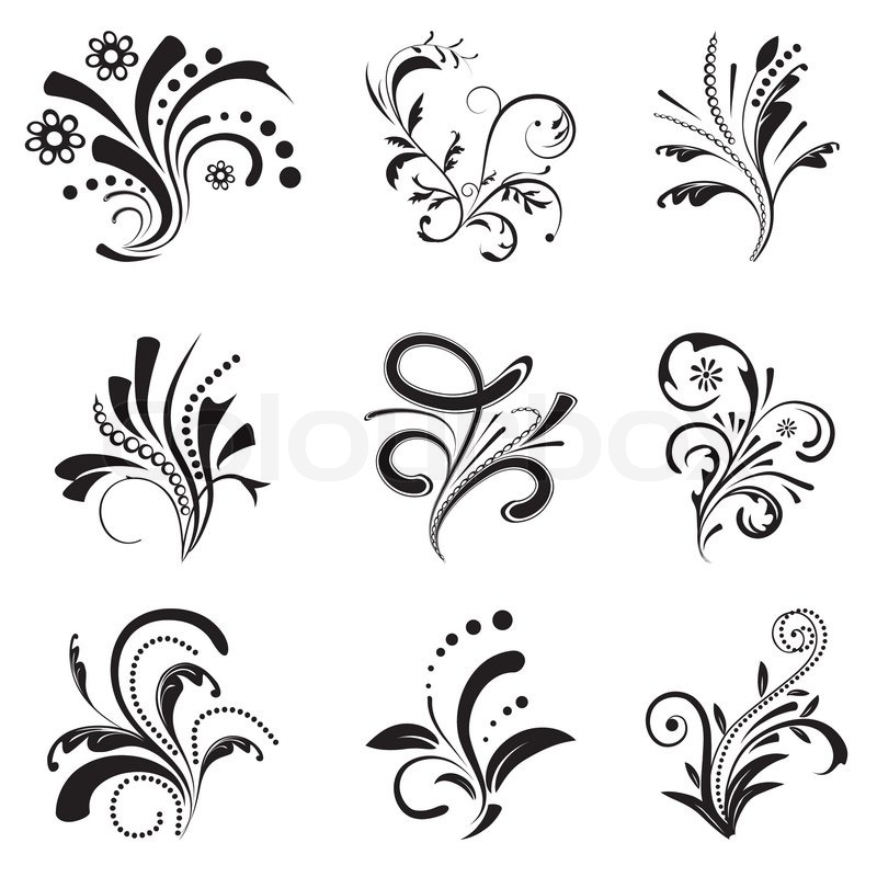 Set Of Black Flower Design Elements From My Big Floral: Set Of Floral Design Elements Vector Illustration