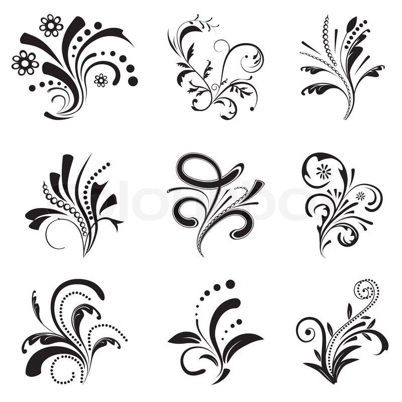 Set Of Black Flower Design Elements Stock Vector: Set Of Floral Design Elements Vector Illustration