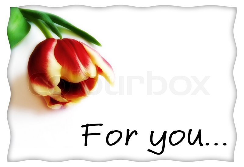 """Postcard or love letter template with flower and inscription """"for ..."""
