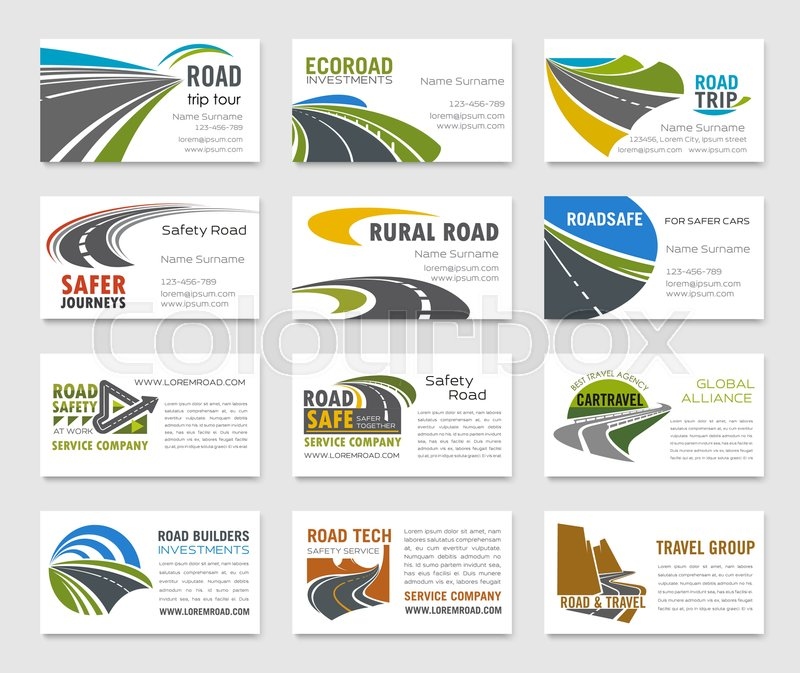 Business card template with road, highway, bridge, mountain and ...