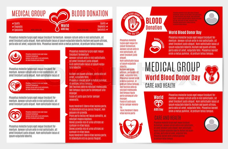 blood donation medical brochure and poster template healthcare information text layouts world aids day and blood donor day badges of heart with blood drop