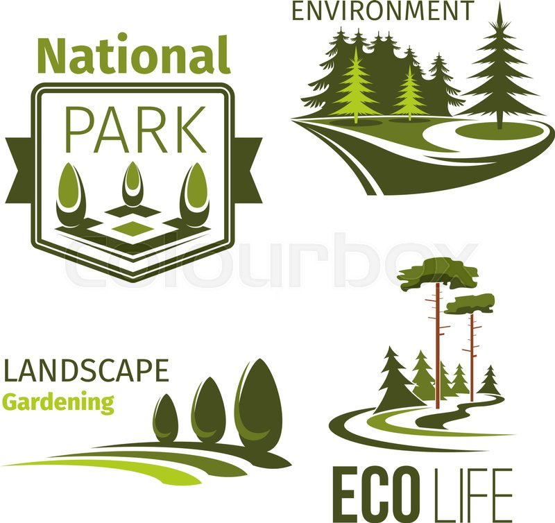 Landscape Design And Eco Park Symbol Set Green Tree Grass Lawn And