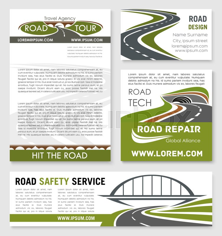 Road and highway banner template with bridge and tunnel road road building company business card travel agency poster car trip and traffic safety flyer design stock vector colourbox reheart Image collections