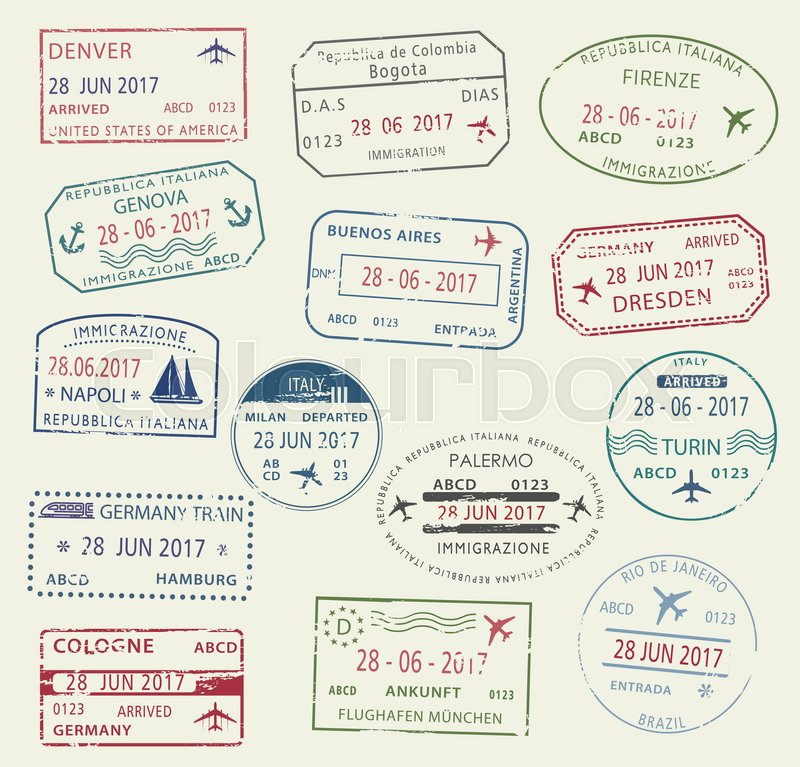 Visa Passport Stamp Symbol Set