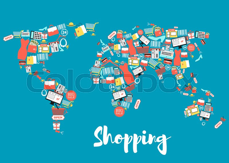 Shopping and sale icons creating world map shopping basket and bag shopping and sale icons creating world map shopping basket and bag gift box store discount and price tag money credit card cloth shoes calculator gumiabroncs Gallery