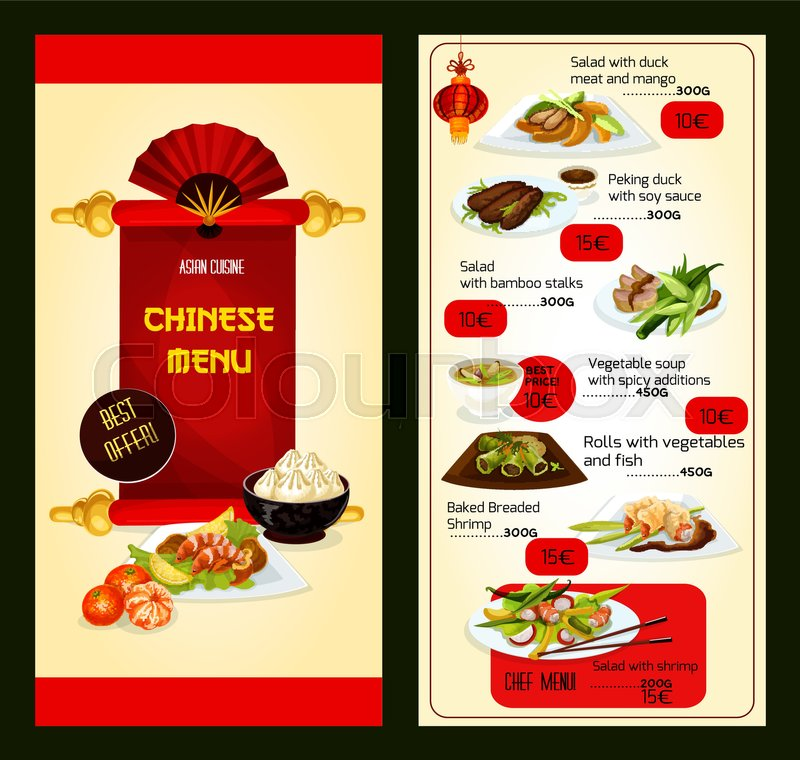 chinese restaurant menu template with asian cuisine dishes peking