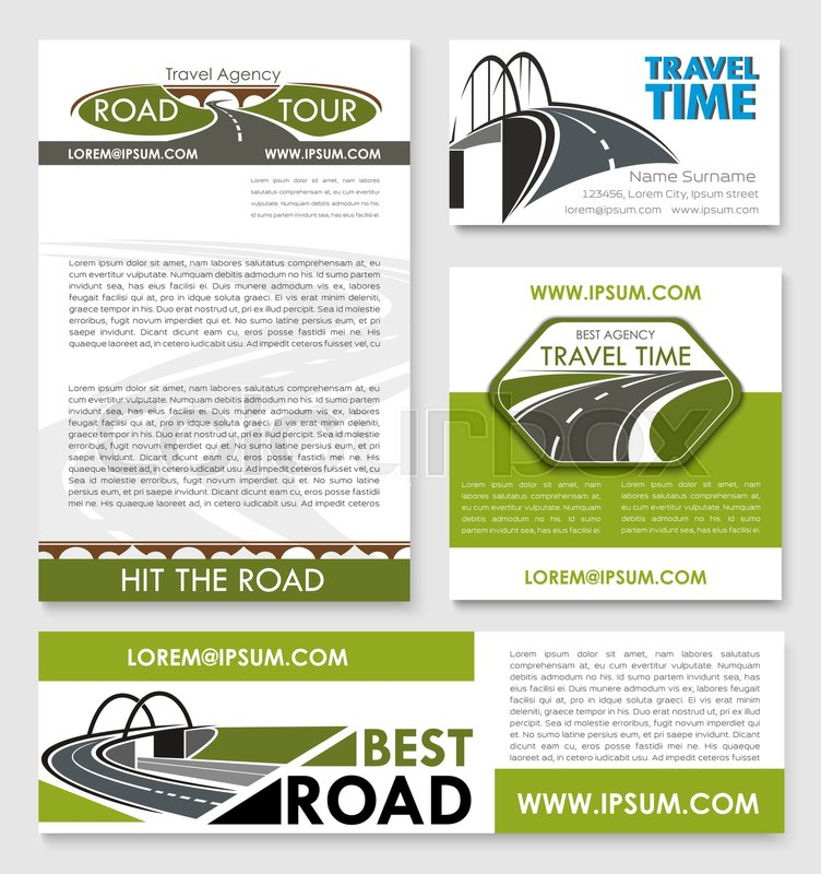 Road trip poster and car travel banner template set. Travel agency ...