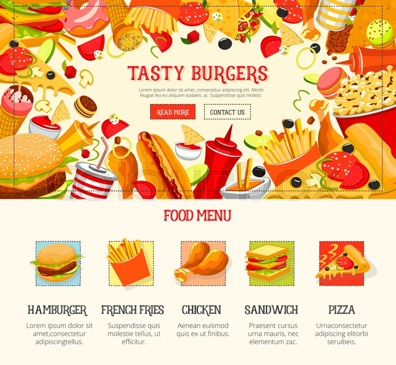 Fast food restaurant menu template burger hamburger for Sandwich shop menu template