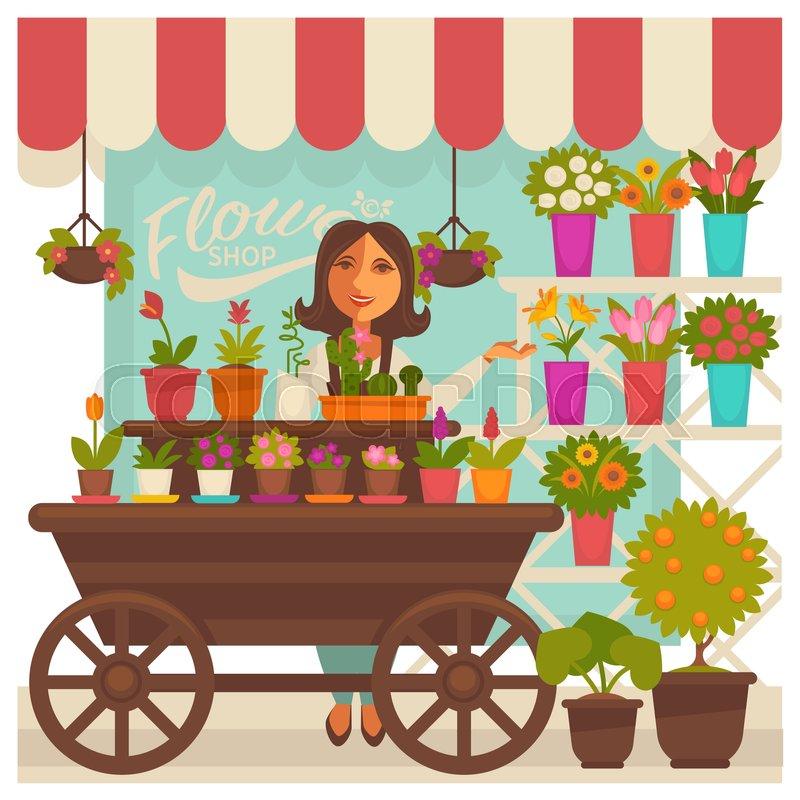 Florist Woman Near Flower Shop ...