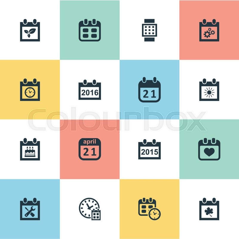 Vector Illustration Set Of Simple Date Icons Elements Agenda Date