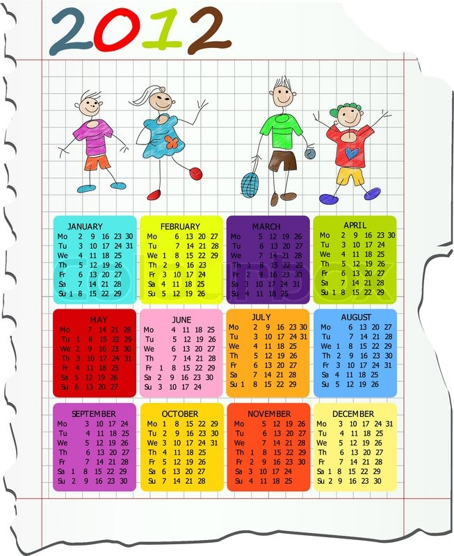 Calendar Drawing For Kids : Calendar on math paper with kids drawings stock