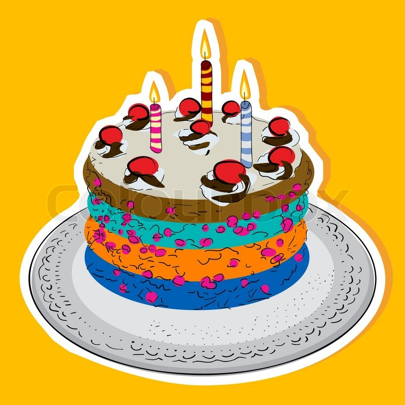 Geburtstagstorte mit Kerzen und Kirschen | Vektorgrafik | Colourbox
