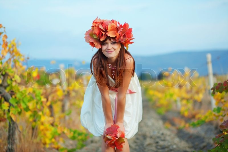 Fall Portrait Of Beautiful Happy Female In Nature
