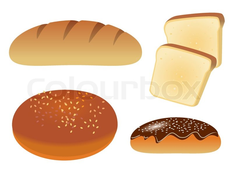 A Set Of Four Icons With Bread Vector Ilration
