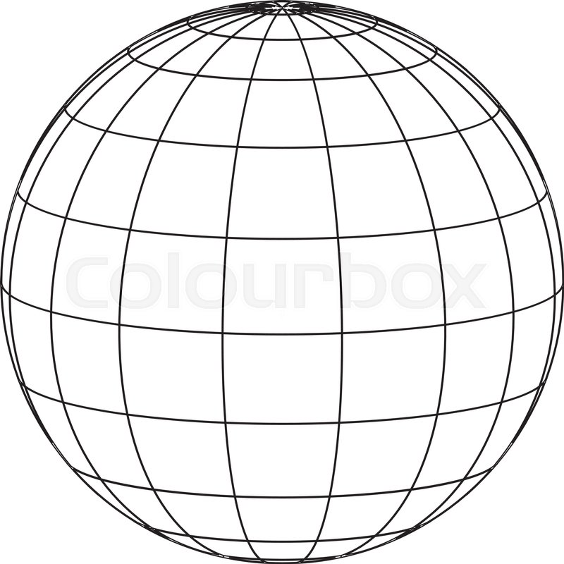 Line Art Earth : Globe line drawing stock vector colourbox