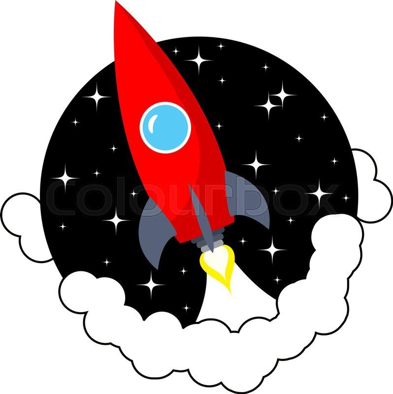 cartoon space rocket stock vector colourbox
