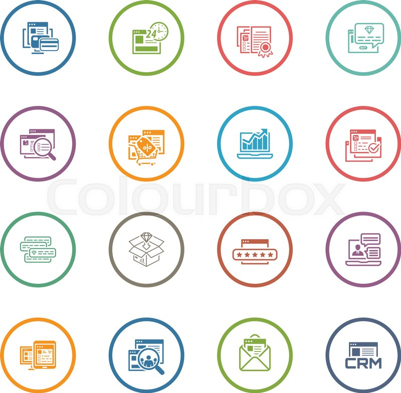 Flat Design Shopping And Marketing Icons Set Online Payment And