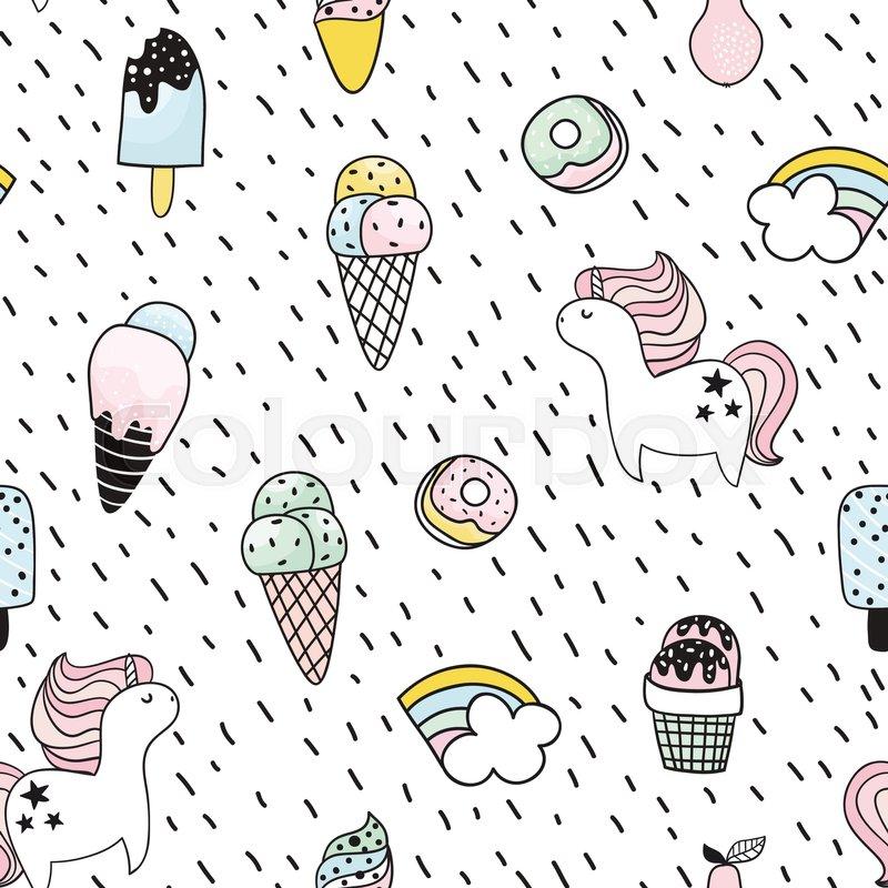 Popular Ice Cream Wallpaper Buy Cheap Ice Cream Wallpaper: Creative Seamless Pattern With ...