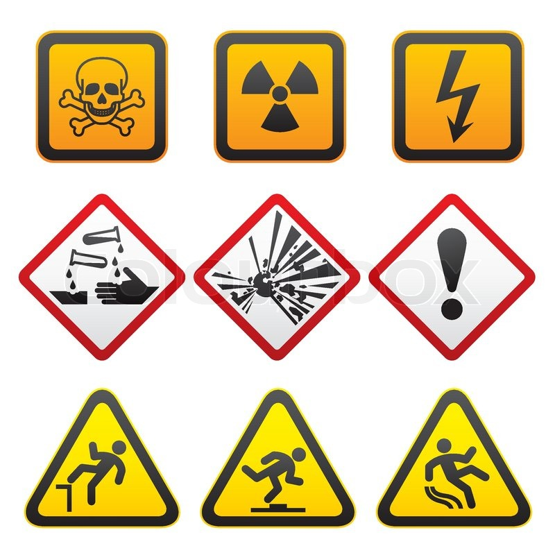 Warning Symbols Hazard Signs First Set Vector Stock Vector