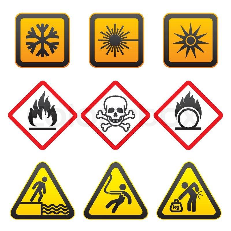 Warning Symbols And Hazard Signs Third Set Stock Vector Colourbox