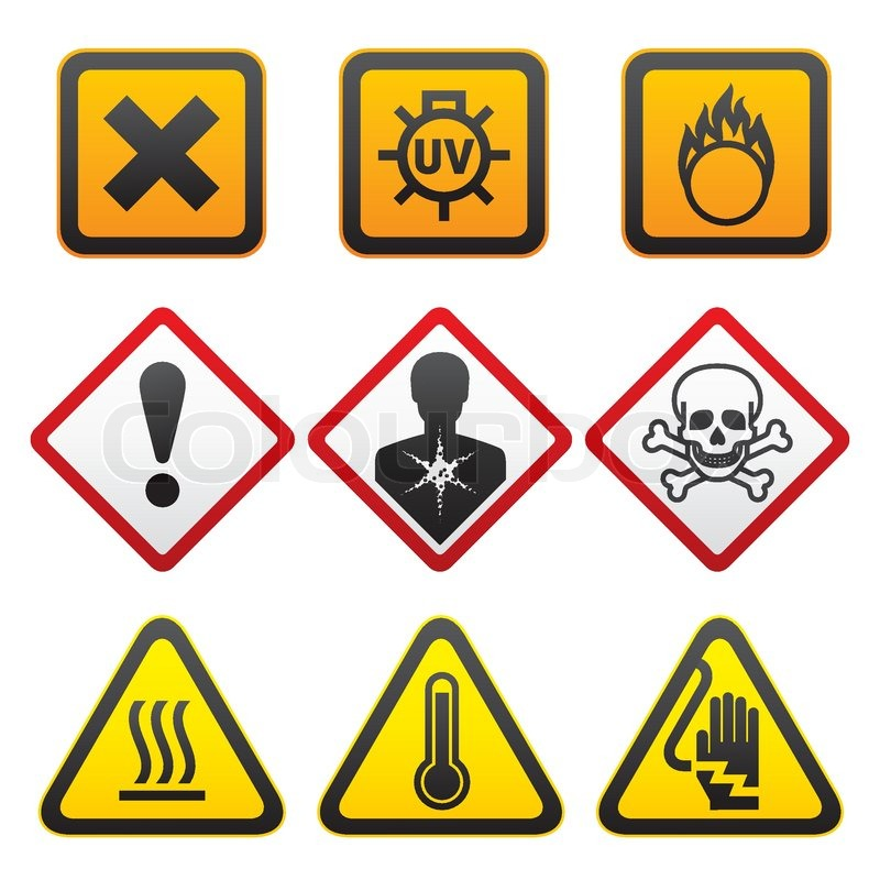 Warning Symbols And Hazard Signs Forth Set Stock Vector Colourbox