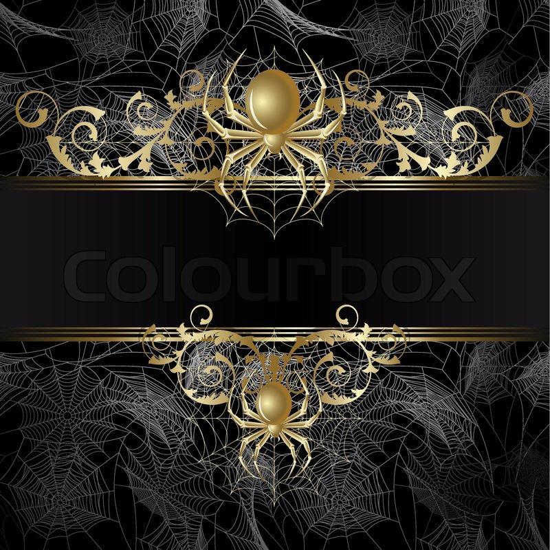 gold framedwith gold spinne und web auf dem schwarzen hintergrund vektorgrafik colourbox. Black Bedroom Furniture Sets. Home Design Ideas