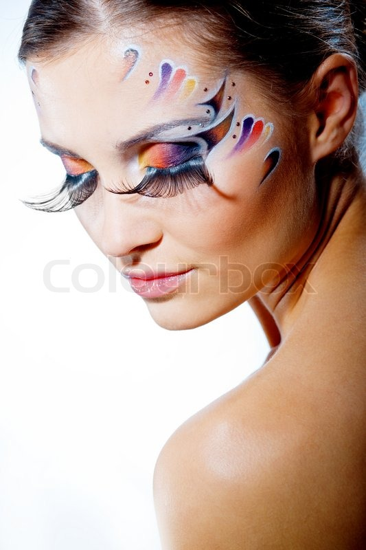 Fashion make-up with face art and extra long lashes Model ...
