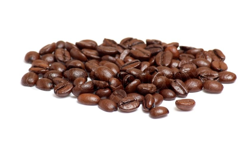 aroma of coffee beans isolated on a white background