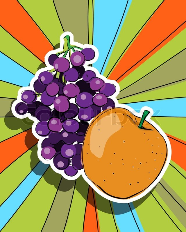 pop art graphic background with fresh fruits apple and