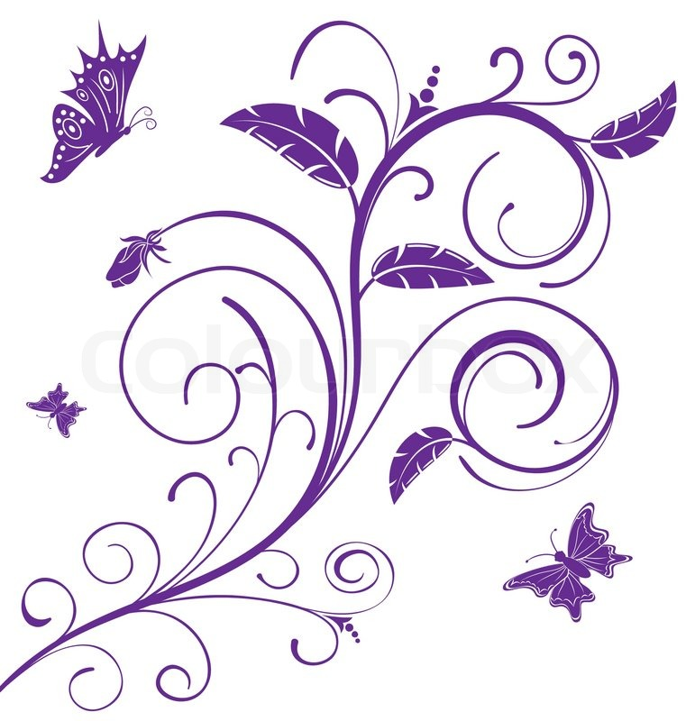 Abstract Flower Background With Decoration Elements For: Abstract Floral Chaos With Butterfly, ...