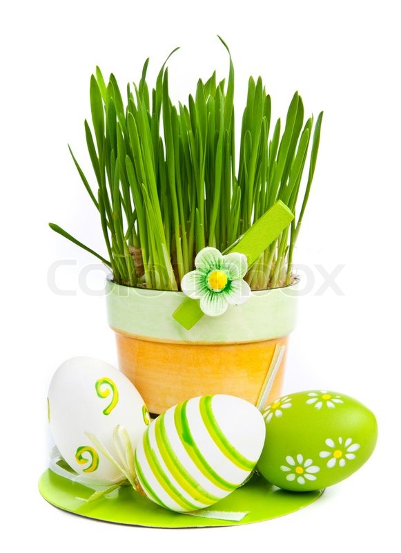 Hand Painted Easter Eggs And Grass Isolated On White Background
