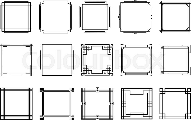 Set Of Rectangular Art Deco Style Stock Vector Colourbox