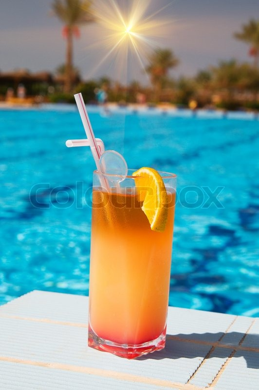 Tasty Cocktail With Lemon At The African Resort Swimming Pool Stock Photo Colourbox