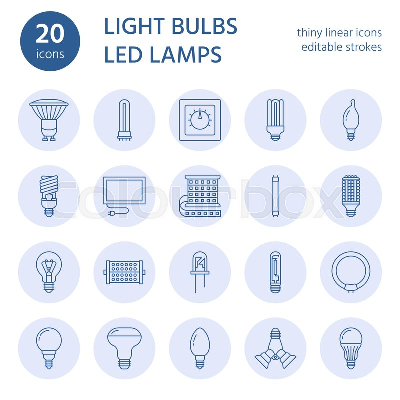 Light bulbs flat line icons. Led lamps types, fluorescent ...