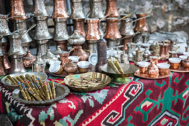 Copper product as souvenir for visitors and tourists in Old Town Sarajevo. Bosnia and Herzegovina, stock photo