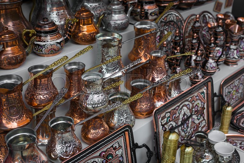 Copper product as souvenir for visitors and tourists in Old Town Mostar. Bosnia and Herzegovina, stock photo