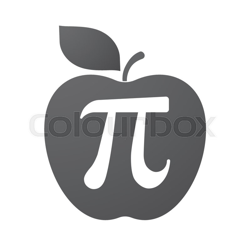 Illustration Of An Isolated Apple Fruit With The Number Pi Symbol