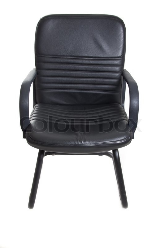 Black Office Chair With Wheels On White Background   Stock Photo   Colourbox