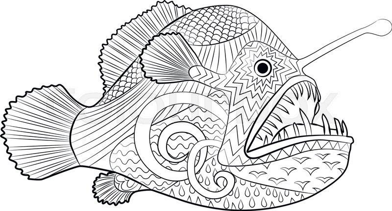 Hand Drawn Creepy Fish With High Details For Anti Stress Coloring Page Illustration Of A Monkfish In Tracery Style Sketch Angelfish Tattoo Poster
