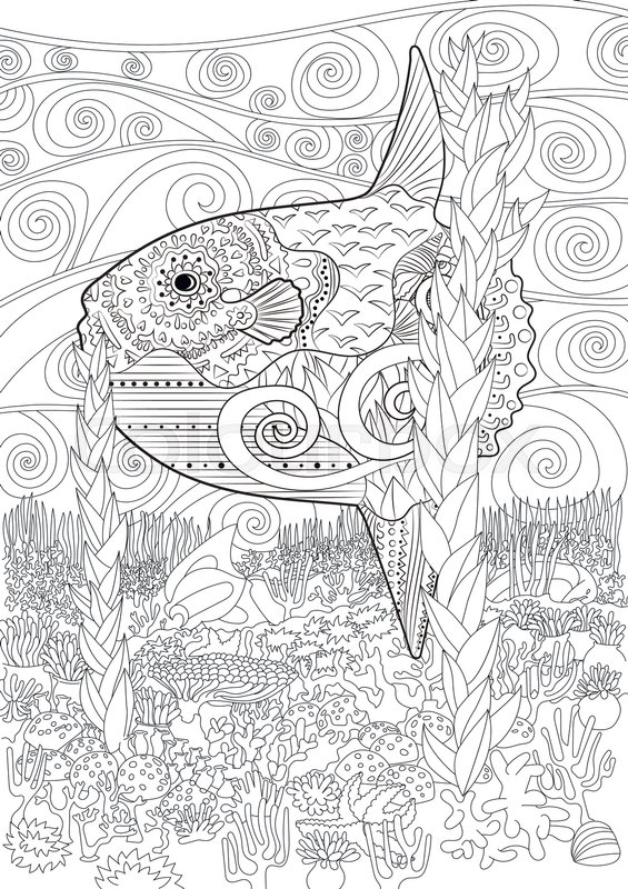 Adult Antistress Coloring Book Black White Hand Drawn Doodle Oceanic Animal For Art Therapy Full Marine Background With High Details