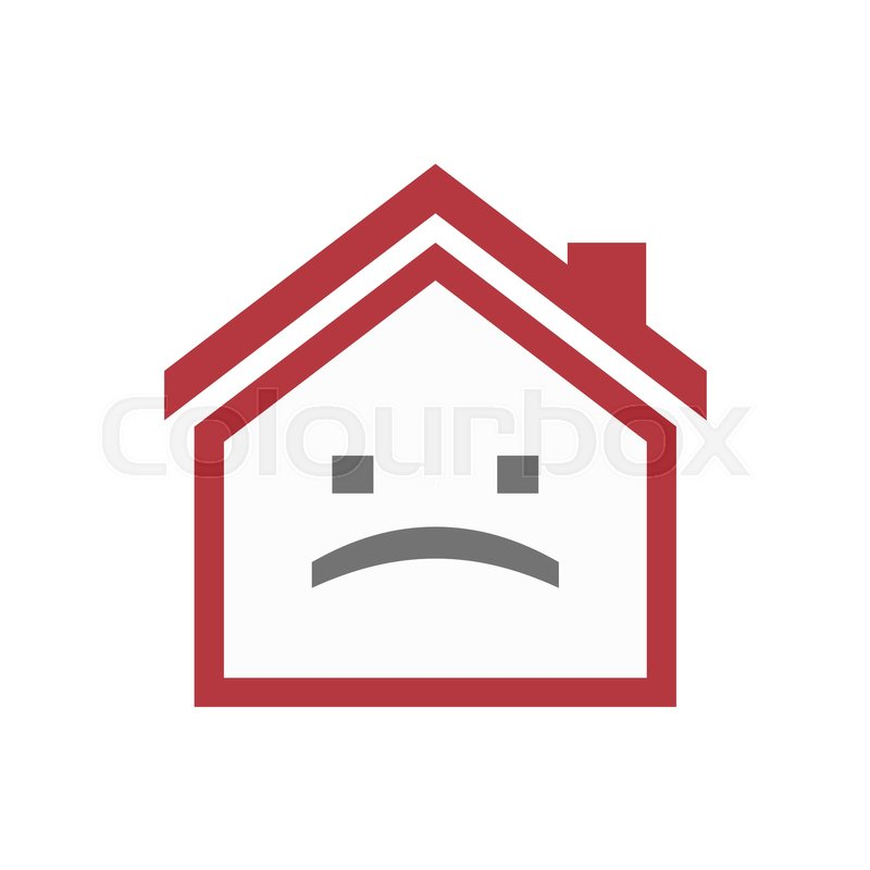Illustration Of An Isolated Lineart House With A Sad Text Face