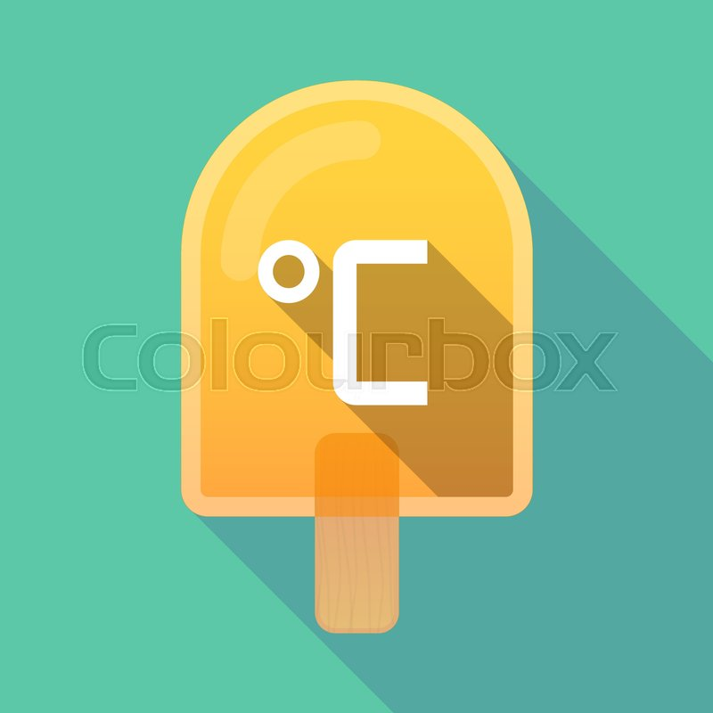 Illustration Of An Isolated Long Shadow Ice Cream With A Celsius