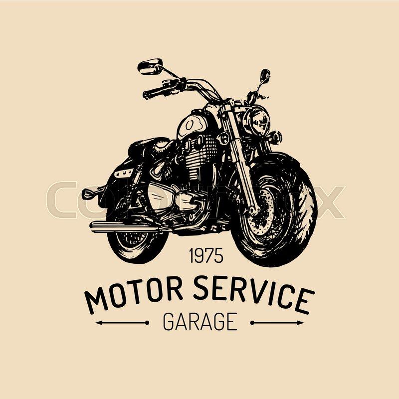 Biker Garage Logo. Vector Hand Drawn ...