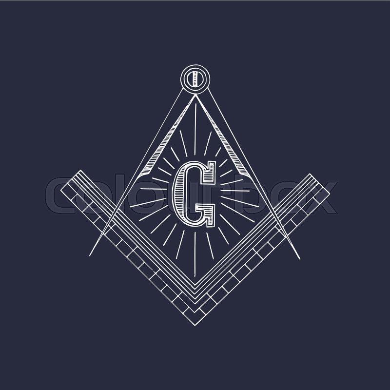 Masonic Square And Compass Symbols Hand Drawn Freemasonry Logo